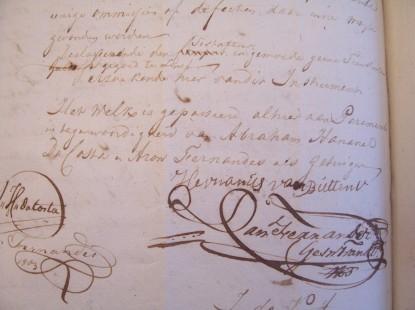 fragment laatste blad testament Hermanus van Buttner met handtekening